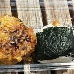 49931742 - ちりめん野沢菜焼きおにぎり                       (左)みそかつ(右)