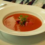 ブノワ - トマトとスイカの冷たいスープ 夏のガルニチュール☆