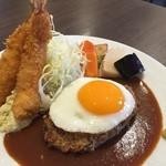 ガーベラ - ハンバーグ&エビフライ定食(デミグラスソース&目玉焼き)1480円