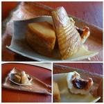 49988921 - 筍とキンキの味噌焼き・・キンキがお味噌の風味もよく美味しいですね。これも一口サイズでしたけれど。