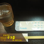 とんかつ ひろ喜 - お水&ウエットティッシュ&お箸