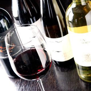 スパークリングワイン、赤白ワイン全9種【120分飲み放題】