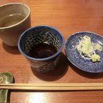 薬庵 - 蕎麦茶・お薬味のネギ・わさび 2016.02.28