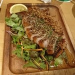 50042851 - ポークペッパーステーキ食べる醤油ソース 千葉県産の杜仲高麗豚