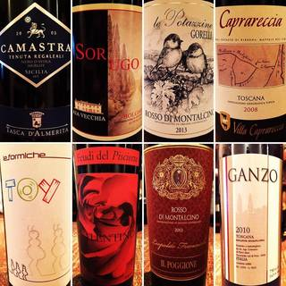 80種類のイタリアワインをご用意。