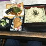 ゆ釜 - 天ざるうどんのセット(いなり寿司)  税込900円