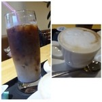 ベーカリーカフェ デリーナ - 左:アイスモカ(だったような)右:カフェオレ