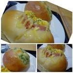 ベーカリーカフェ デリーナ - ◆うぐいす豆パン(160円)・・豆は甘さも程よく美味しいそうです。 ◆ハムエッグ(170円)・・マヨネーズで和えた卵が入っていますが、量が少ないかしら。