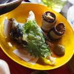 鬱花 - ワカサギ揚げ、茄子のオイルサーディン巻き