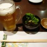 なるみ乃 - 2016.05 生ビールと突き出し(もずく)