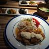 南蛮堂珈琲 - 料理写真:手前がチキン南蛮定食。奥がチキン南蛮ダブルです!ご飯と副菜3つとお味噌とドリンク付きです。