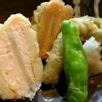野むら - 海老真丈と新生姜の筍挟み揚げ