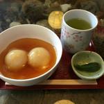 餅処 深瀬 - 栗だんご 漬物、お茶が付いて360円と安い!