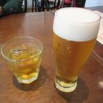 青菜 - あらごし梅酒ロック 700円+TAX &  生ビール 720円+TAX