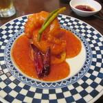 青菜 - 大海老のにんにく辛みソース