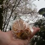 おこめパン&カフェMAGOME - 桜をバックに「つくねドッグ (180円)」