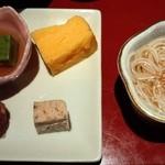 ちいさなかいせき かぶらや  - 前菜(玉子焼き、鴨のテリーヌ、穴子のごぼう巻き、よもぎ豆腐、にゅうめん)