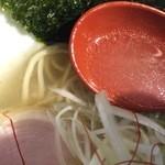らぁめん トリカヂ イッパイ - 塩らぁめん(700円)スープ