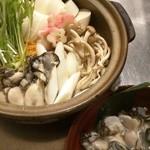 """春が旬! 佐渡産""""加茂湖の一年牡蠣""""の湯豆腐鍋(3月~4月末ころ)"""