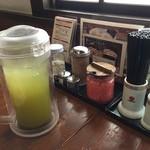 50180409 - 調味料とお茶です。お冷の代わりにお茶が出てくるのは嬉しいです。