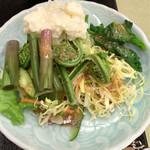 上畑温泉 さわらび - 朝食②ハーフバイキングの山菜サラダ 2016.04