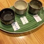 上畑温泉 さわらび - のみ比べ利き酒セット(おちょこ3杯) 2016.04