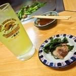 ホルモン料理専門處 利根屋 - ライム酎ハイ&コウネ(牛の肩バラの一部)