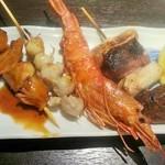 沖ちゃん - 海鮮串焼き4点盛り(680円)