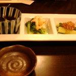 鮨や ねこなかせ - 前菜3種(ねこなかせせっと)