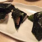 焼鶏館 - ささみ焼き(うめ・納豆・わさび)3種類で450円