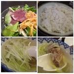 牛たん炭焼 利久 - *テールスープ、そのままよりも胡椒多めに入れると、より美味しくなりました。*サラダ*麦ごはん
