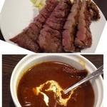 牛たん炭焼 利久 - *牛タンは程よい厚みで、両方食した主人はこちらの方が美味しいと。 *タンシチューはよく煮こまれていて、美味しい
