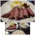 牛たん炭焼 利久 - ◆主人は「牛タン極定食(3切れ:1700円:外税)」を。 「牛タン」「テールスープ」「麦飯」のセット。