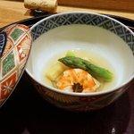 日本料理 太月 - 海老とたけのことアスパラ