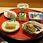 日本料理 太月 - ホタルイカおき漬け、さより寿司、あわび
