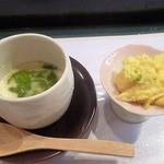 おたる 魚亭 - 磯寿司セットの茶碗蒸しと小鉢 2016.4月