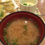 築地食堂 源ちゃん - 味噌汁と茶碗蒸し