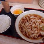 そばよし - かけうどん(270円)+半ライス(80円)+生玉子(60円)