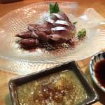 西村鮮魚店 - 生姜醤油と醤油を付けて