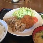 壱番亭 - 日替わりサービスランチ(しょうが焼き、メンチ)¥734