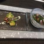 ノガラッツァ - ランチ ギオット ミニ前菜2種 燻製したマグロとアボカドのカルパッチョと、生ハムのスープ 菜の花入り
