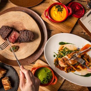日本全国、世界各地から集めた肉や魚、野菜などこだわりの食材
