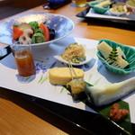 創作和料理 みつわ - 料理写真:2016.4)お昼の山吹(税込み5400円)の前菜