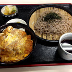 ほかり食堂 - ざるそば・カツどんセット850円