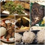 50270705 - 行者にんにくとほしあぶらの天ぷら、イシダイのかぶと焼き、鶏シウマイ、鯖のへしこ、春のはるまき