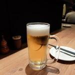 とりの炭家 - 生ビール サッポロ黒ラベル