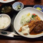 はなや食堂 - 料理写真:ハンバーグエビフライセット 2016.4