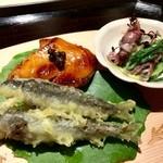 白金にし田 - 【焼物】○稚鮎の天ぷら様、オオスケの照焼様、ホタルイカの青菜酢味噌様。