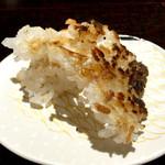 白金にし田 - 最後のオコゲも軽い醤油で頂くとサックリした食感に思わずご飯で日本酒進んでしまった(笑)