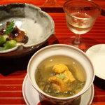 5033591 - 自家製梅酒、冷やし茶碗蒸、蛸京煮